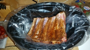 Ribs ready to go in the slow-cooker