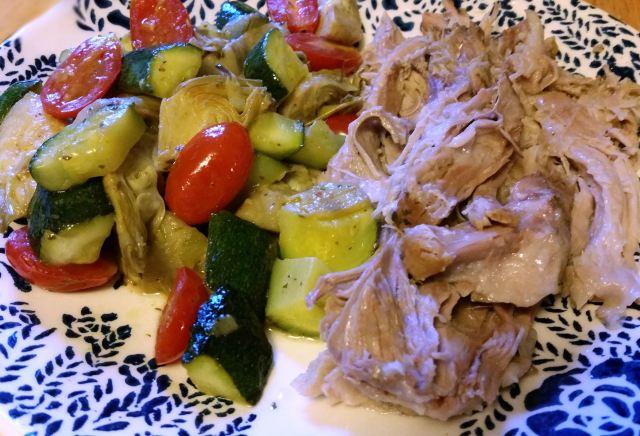 #MyWholesome30 Stewed Zucchini-Artichoke-Tomato side dish