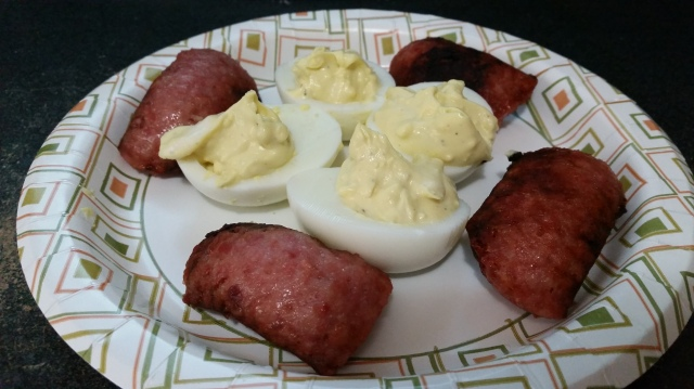 #MyWholesome30 Day 4 Breakfast---sausage and deviled eggs