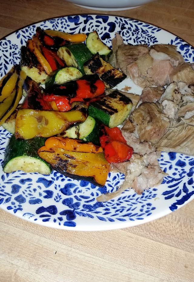 Pork Roast and Sauteed Veggies   LowCarbKaye.com