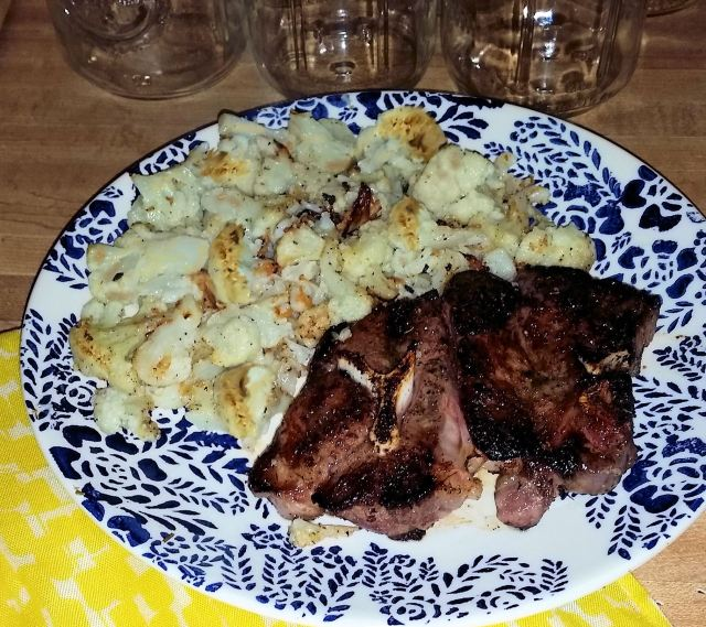 Lamb Shoulder Chop and Roasted Cauliflower | LowCarbKaye.com